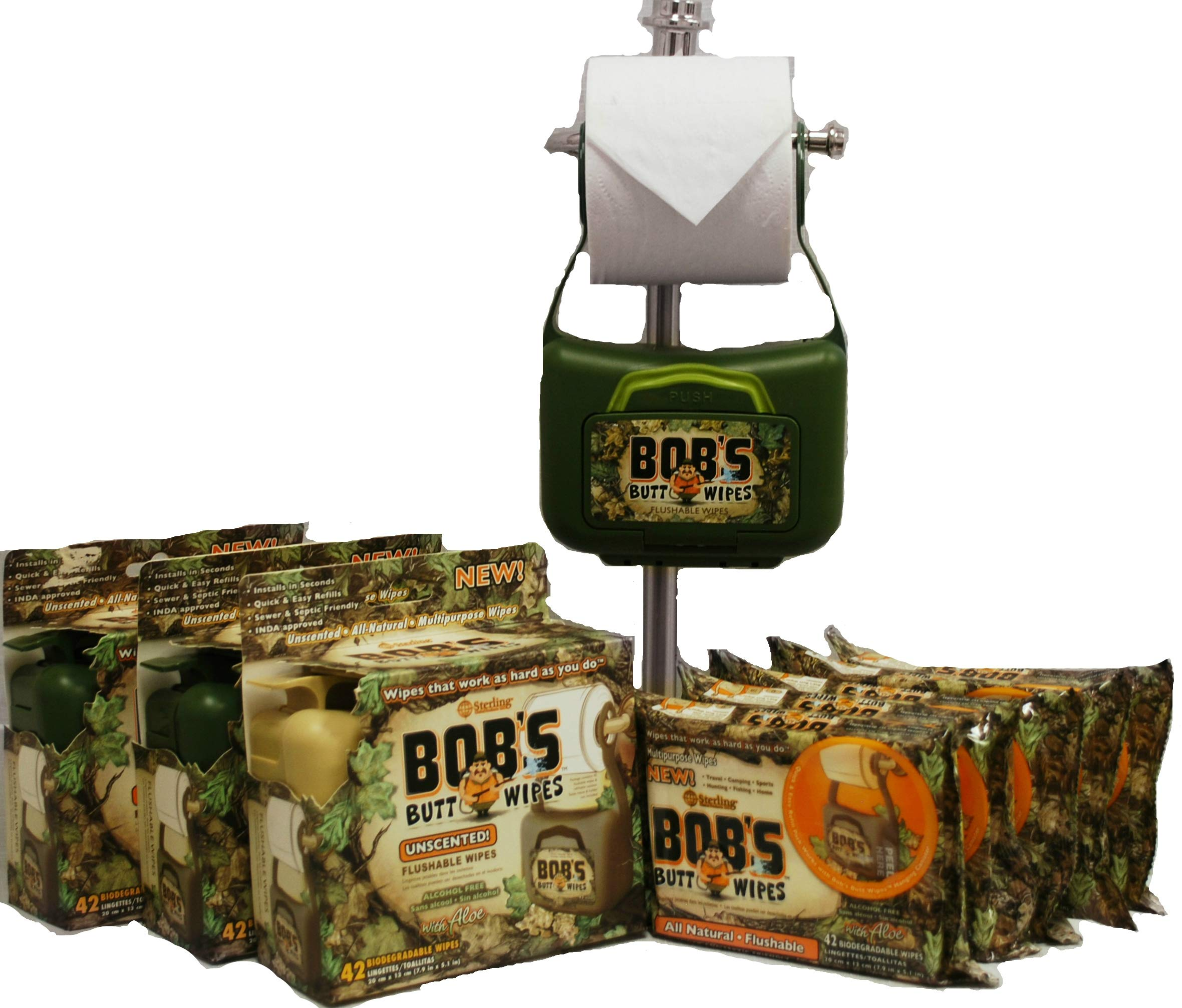 Bob's Butt Wipes 3 Hanging Dispensers & 5 Packs of 42ct. Flushable Wipes, All-Natural Hypoallergenic Fragrance-Free Wipes