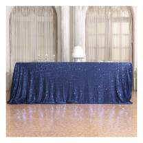 Poise3EHome 50×72'' Rectangle Sequin Tablecloth for Party Cake Dessert Table Exhibition Events, Navy Blue