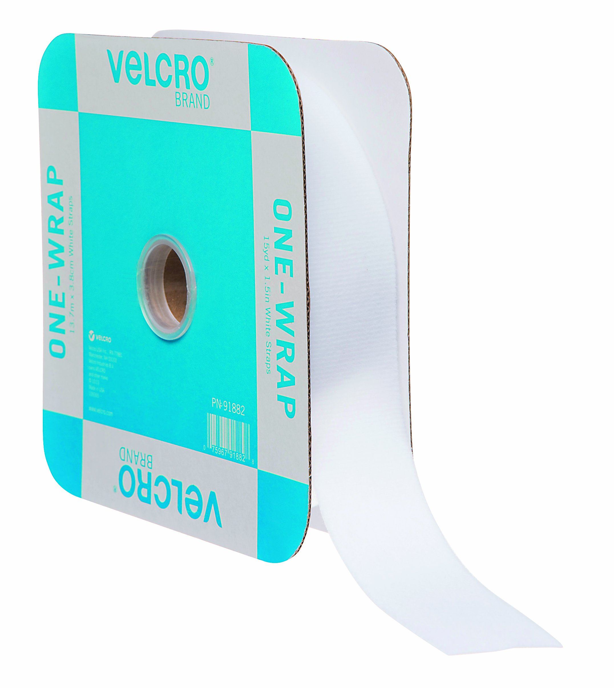 VELCRO Brand ONE-WRAP Bundling Ties – Reusable Fasteners for Keeping Cords and Cables Tidy – Cut-to-Length Roll, 45ft x 1 1/2in, White, 91882