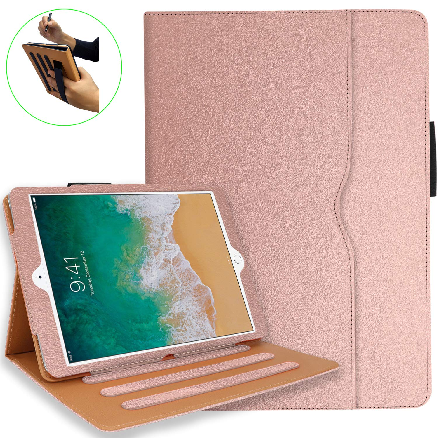 iPad 7th Generation Case, iPad 10.2 Case with Pencil Holder - Multi-Angle Stand, Hand Strap, Auto Sleep/Wake for iPad 7th Gen, iPad 10.2 2019(Rose Golden)