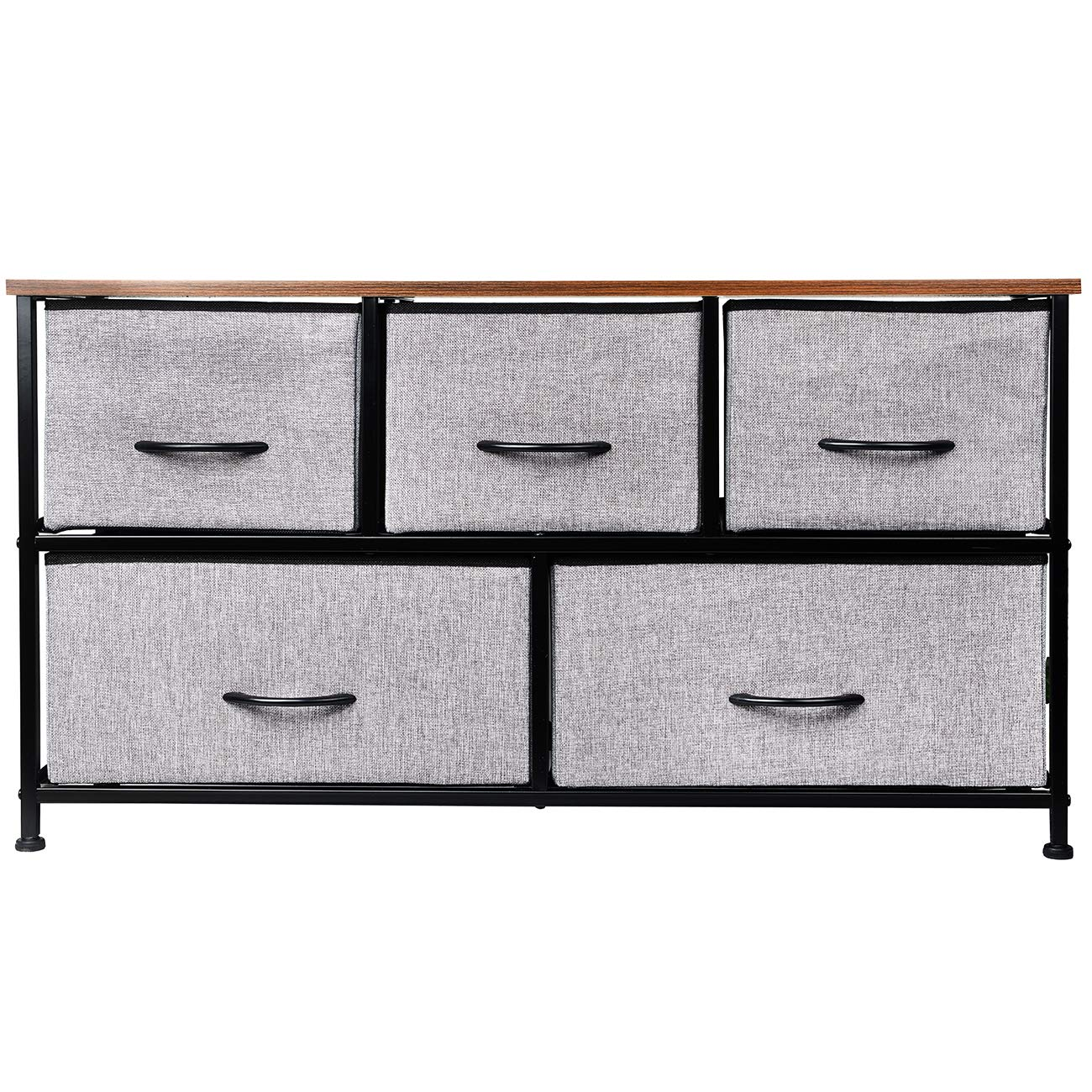 KINWELL Extra Wide Fabric Storage Organizer Drawer Dresser TV Stand with MDF Board Drawer Bottom Wooden Tabletop Sturdy Steel Frame Easy Pull Fabric Bins Organizer Unit for Bedroom Hallway-5 Drawers