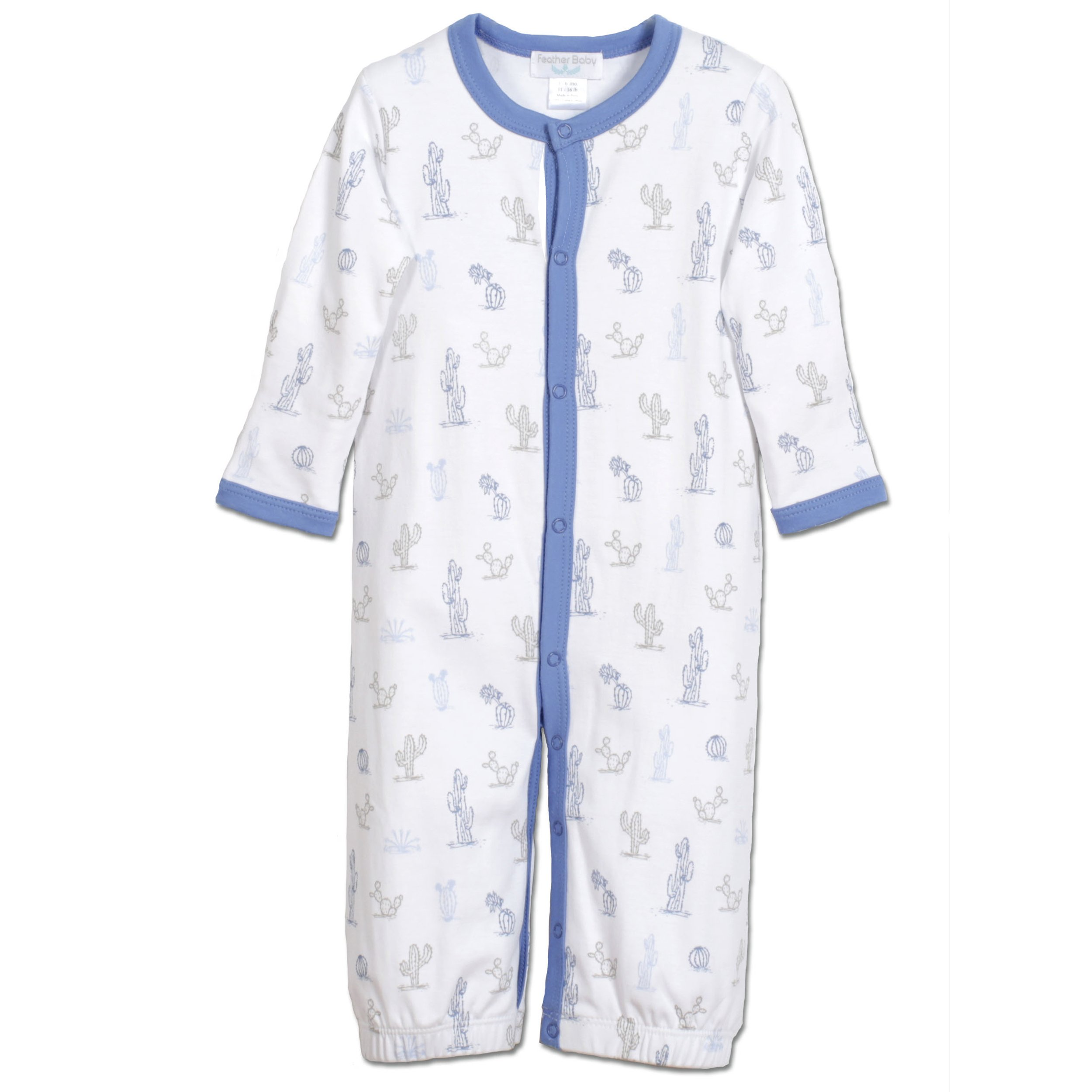 Feather Baby Little Boys Pima Cotton Long Sleeve Henley Converter Gown