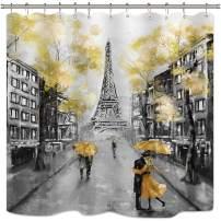 "Riyidecor Oil Painting Paris Shower Curtain 72"" W x 78"" H European City Landscape France Eiffel Tower Modern Couple Black Yellow Fabric Waterproof Bathroom Home Decor 12 Plastic Shower Hooks"
