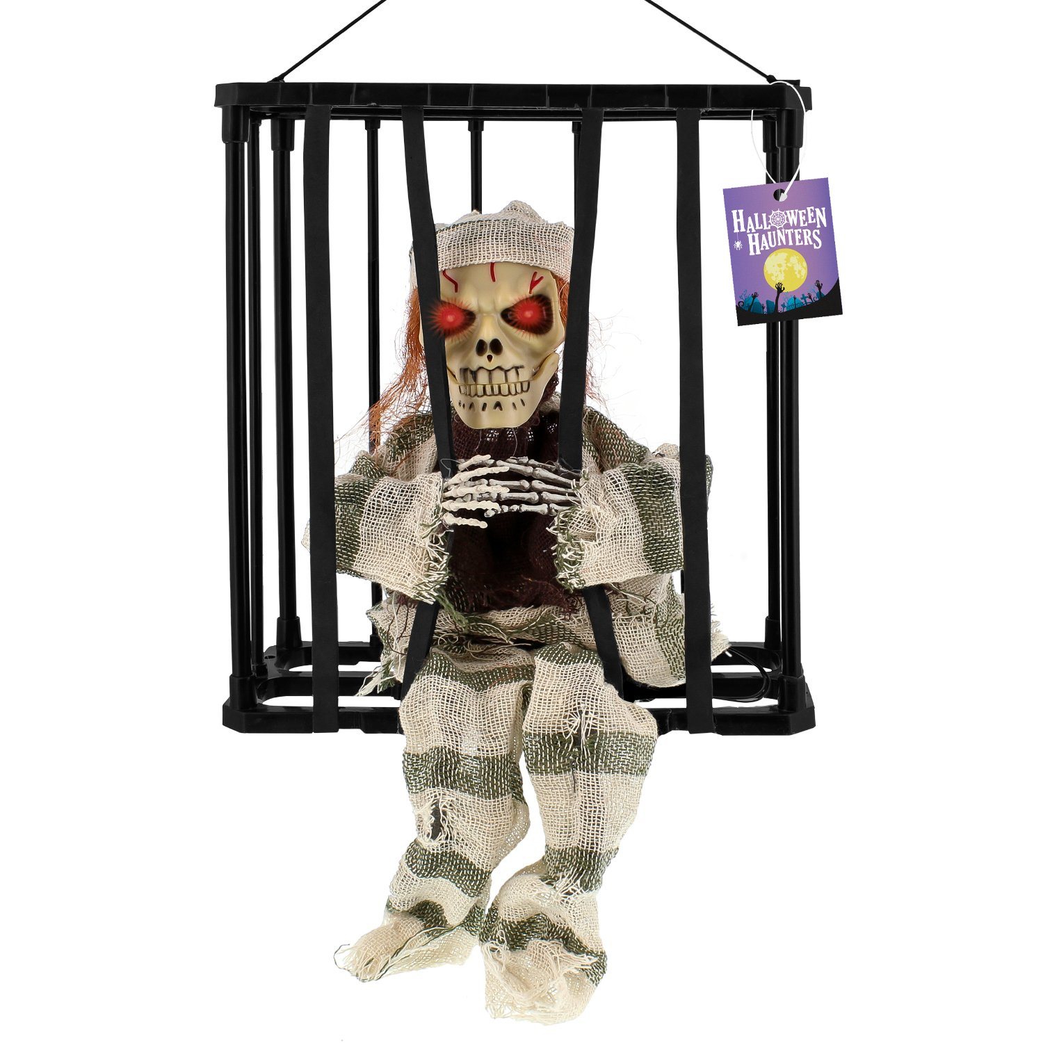 Halloween Haunters Animated Hanging Caged Skeleton Ghost Prisoner Speaking Moving Escaping Locked Prison Jail Prop Decoration - Screams Help Me as Head Lurches Forward Arms Move - Spooky Haunted House