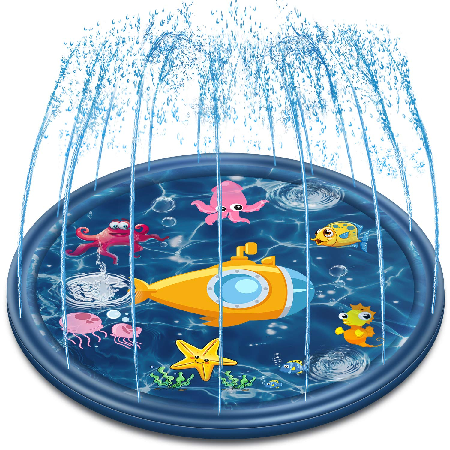 Neteast Outdoor Sprinkler Mat Summer Toys for Kids and Toddlers, 68'' Outside Splash Pad Water Toys for 1 2 3 4 5 6 7 8 Year Old Boys and Girls Baby