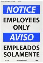 "NMC ESN215PB Bilingual OSHA Sign, Legend ""NOTICE - EMPLOYEES ONLY"", 14"" Length x 10"" Height, Pressure Sensitive Adhesive Vinyl, Black/Blue on White"