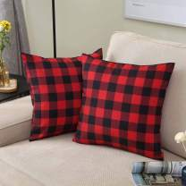 IDEALHOUSE Throw Pillow Cases, 2 Pack Farmhouse Buffalo Check Plaid Sofa Square Cushion Pillow Covers for Home Decor, Black and Red, 18 x 18 Inch