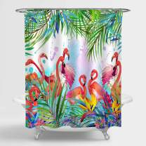 "MitoVilla Pink Flamingo Shower Curtain, Exotic Bird with Tropical Jungle Leaves and Flowers Watercolor Bathroom Decor for Women and Girls, Washable Bathroom Accessories, Pink, Green, 72"" W x 72"" L"