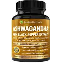 Organic Ashwagandha Root Powder 1200mg - 120 Pullulan Organic Capsules - Ashwaganda Supplement – Black Pepper Extract for Increased Absorption