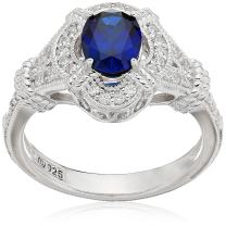 J'ADMIRE Platinum Plated Sterling Silver Oval Created Sapphire Vintage Style Swarovski Zirconia Accents Ring