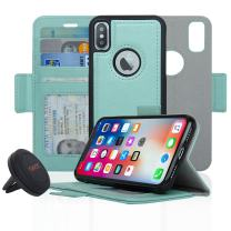 Navor Detachable Magnetic Wallet Case and Universal Car Mount Compatible for iPhone Xs/X [RFID Protection] [Vajio Series]-Mint
