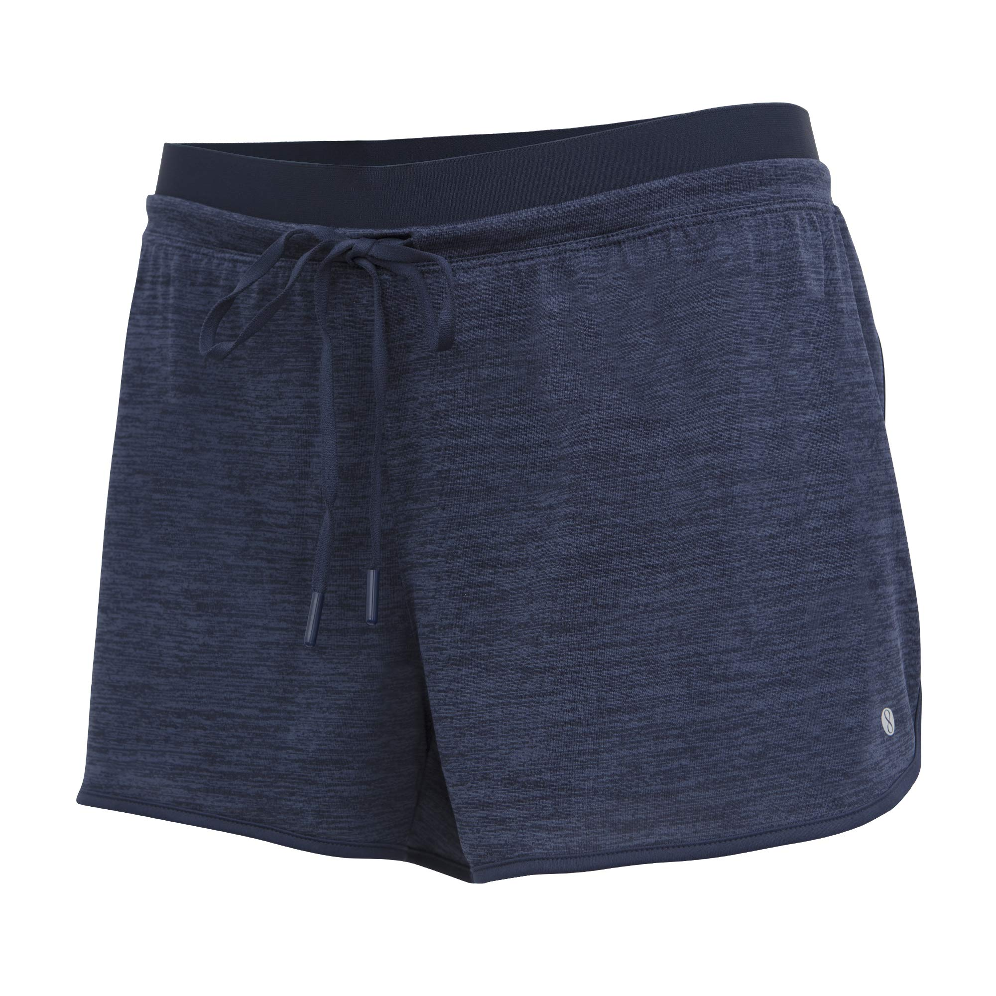 Layer 8 Women's Knit and Woven Quick Dry Two in One Running Yoga Work Out Short with Compression Shorts Underneath