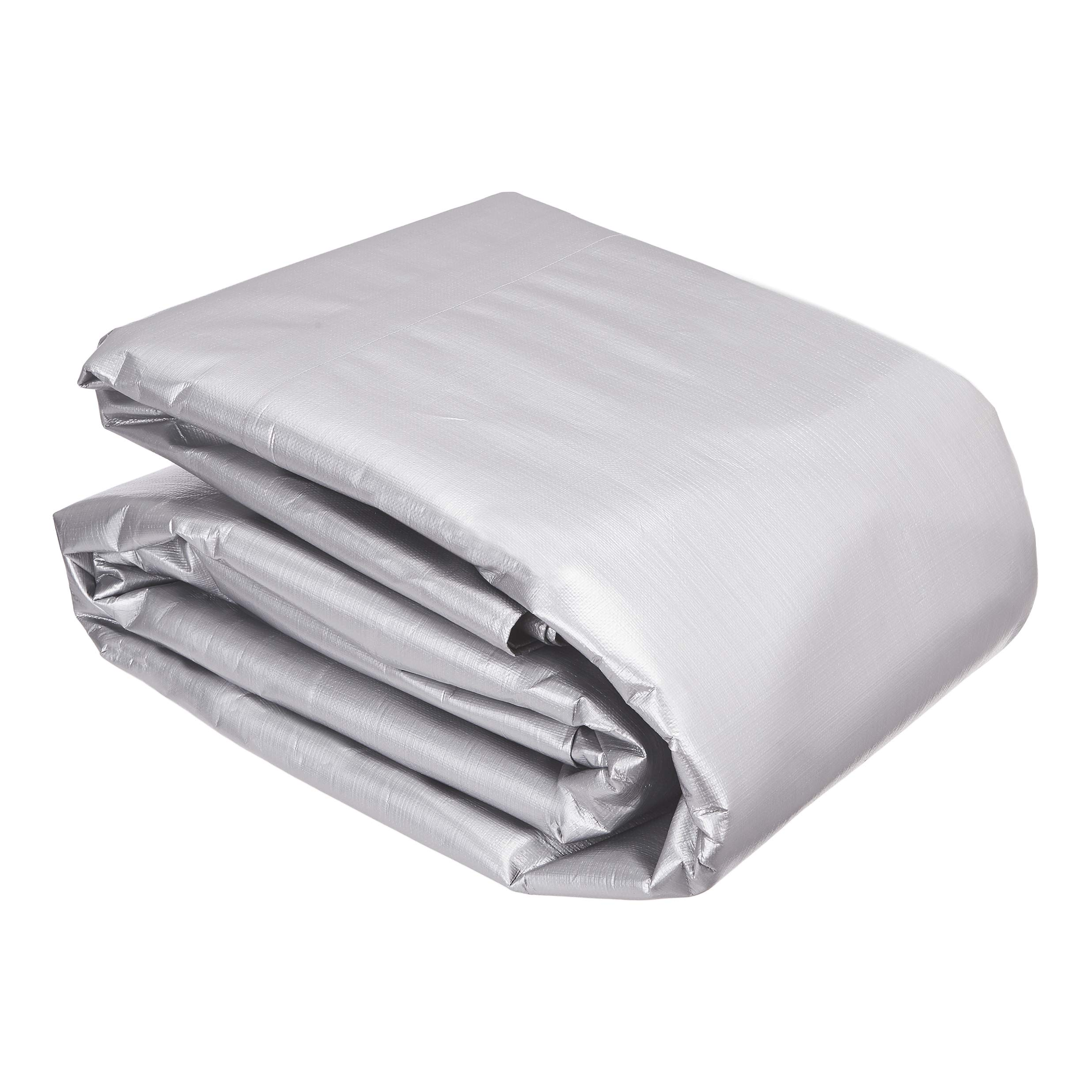 AmazonCommercial Multi Purpose Waterproof Poly Tarp Cover, 20 X 40 FT, 16MIL Thick, Silver/Black, 1-Pack