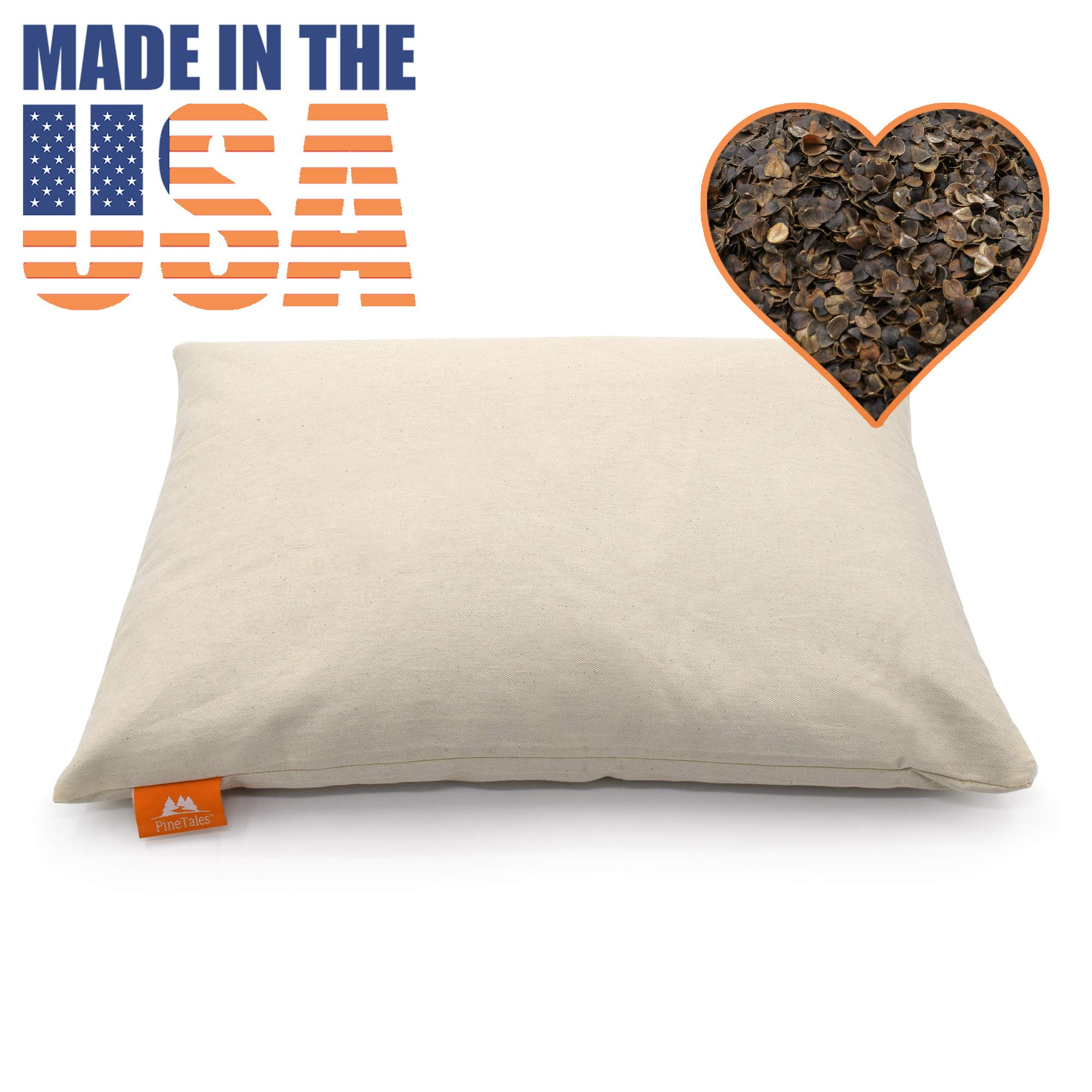 """PineTales Basic Organic Buckwheat Pillow Made with Extra Breathable and Durable Unbleached Cotton Twill, 100% Chemical Free, Made in Phoenix, AZ, Japanese Size 14"""" x 20"""""""