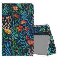 MoKo Case Fits Kindle Fire 7 Tablet (9th Generation, 2019 Release), Premium PU Leather Slim Folding Stand Shell Multiple Viewing Angles Cover with Auto Wake/Sleep - Jungle Night