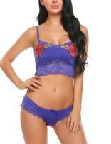 Avidlove Sexy Lingerie for Women Lace Bra and Panty Sets 2 Piece Babydoll Bodysuit Royal Blue