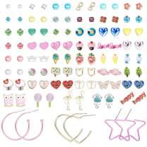 Hanpabum 50Pairs Stud Earrings for Women Stainless Steel Post Cute Animals Star Ball Faux Pearl CZ Earrings Set