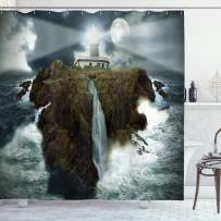 """Ambesonne Lighthouse Shower Curtain, Island with Lighthouse Rocks Stormy Sea Crashing Waves Full Moon Beams, Cloth Fabric Bathroom Decor Set with Hooks, 70"""" Long, Gray White"""