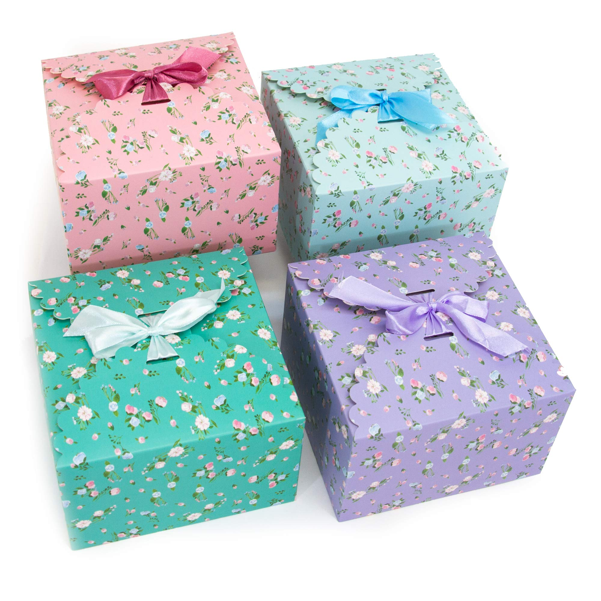 """Gift Expressions Gift Boxes with Lids, Assorted Floral, 12 Pack, 5.8"""" x 5.8"""" x 3.7"""" Foldable Decorative Box, Cupcake Boxes, Party Favors, Bridesmaid Gifts, Thick 400GSM Small Cardboard Boxes"""