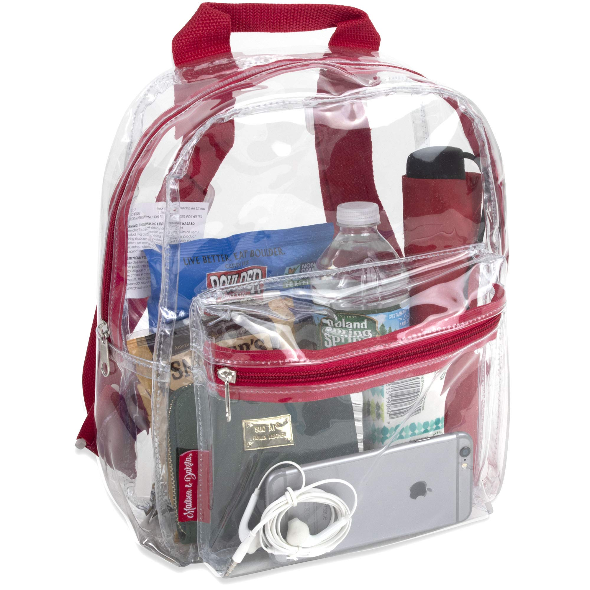Madison & Dakota Water Resistant Clear Mini Backpacks for School, Beach - Stadium Approved Bag with Adjustable Straps (Red)