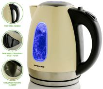 Ovente Electric Kettle 1.7 Liter Stainless Steel with Concealed Heating Element and Boil Dry Protection, 1100 Watt Fast Heating, LED Indicator Light, Perfect for Coffee, Tea Beige (KS96BG)