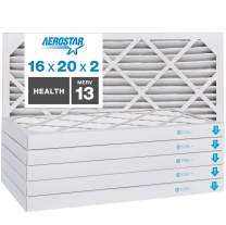 """Aerostar Home Max 16x20x2 MERV 13 Pleated Air Filter, Made in the USA, Captures Virus Particles, (Actual Size: 15 1/2""""x19 1/2""""x1 3/4""""), 6-Pack"""