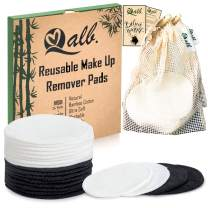 Qalb Reusable Cotton Rounds (24 Pads) | Organic Makeup Remover Pad and Deep Cleansing Facial Wipes | Extra Soft Washable Cotton Swabs with Laundry Bag | Tested and Proven on all Skin Types
