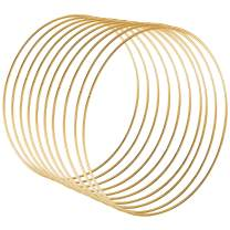Sntieecr 6 Pack 12 Inch Large Metal Floral Hoop Wreath Macrame Gold Hoop Rings for Making Wedding Wreath Decor and DIY Dream Catcher Wall Hanging Crafts (6)