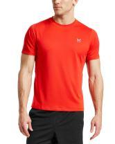 Mission Men's VaporActive Alpha Short Sleeve Athletic Shirt, Fiery Red, Medium