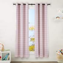 "AmazonBasics Kids Room Darkening Blackout Window Curtain Set with Grommets - 42"" x 84"", Pink Buffalo Plaid"