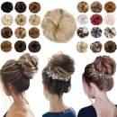 Messy Bun Hair Piece Thick Updo Scrunchies Hair Extensions Ponytail Hair Accessories Ash Blonde Mix Bleach Blonde