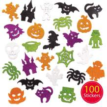 Baker Ross Halloween Glow in The Dark Foam Decoration Stickers | Kids Fun Arts & Crafts Project | No Glue or Scissors Needed | Pack of 100 Glowing Ghouls