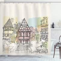 """Ambesonne German Shower Curtain, Historic Traditional Scene Nuremberg Germany Classical Timber Houses Illustration, Cloth Fabric Bathroom Decor Set with Hooks, 70"""" Long, Beige"""