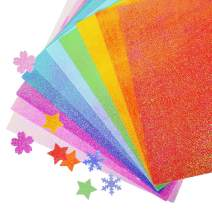 UCEC Glitter Cardstock Paper, 50 Sheets Colored Cardstock Sparkly Paper Premium Craft Cardstock for DIY Puncher Gift Box Wrapping Birthday Party Decor Scrapbook, 10 Colors Not Easy to Break