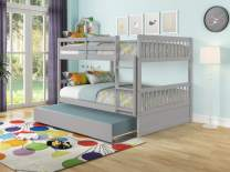 Hommoo Full Over Full Bunk Beds for Kids Teens, Solid Wood Full Bunk Bed Frame with Trundle andRails, Can be Divided into 2 Beds (Grey)