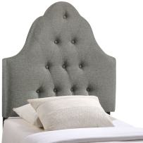 Modway Sovereign Tufted Button Linen Fabric Upholstered Twin Headboard in Gray