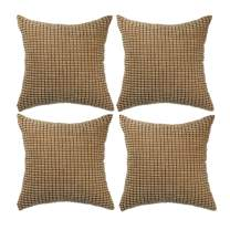"Set of 4,Decorative Throw Pillow Covers 16"" x 16"" (No Insert),Solid Cozy Corduroy Corn Accent Square Pillow Case Sham,Soft Velvet Cushion Cover with Hidden Zipper for Couch/Sofa/Bedroom,Light Brown"