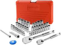 EPAuto 46 Pieces 1/4-Inch and 3/8-Inch Drive Socket Set with 90 Tooth Reversible Ratchet