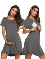 Ekouaer Women's Nursing Nightgown Labor Delivery Gown Hospital Maternity Sleepwear Breastfeeding Night Dress S-XXL
