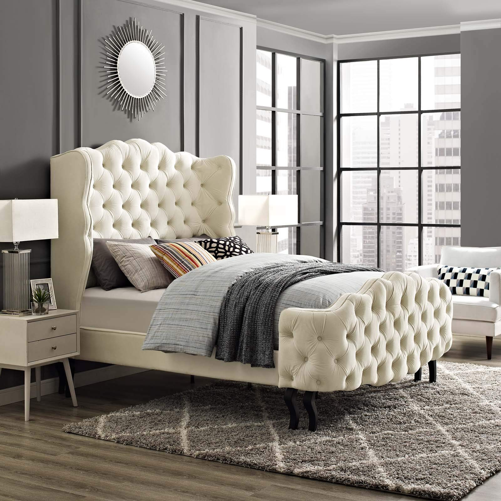 Modway Violette Performance Velvet Tufted Wingback Queen Platform Bed in Ivory