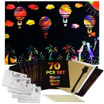 bago Scratch Art for Kids 70Pcs - Vibrant Rainbow Scratch Paper for Kids and Adults Craft Fun - Black, Silver, Gold Kid Scratch Art & Sketch Large Sheets, 5 Wooden Stylus, Cleaning Brush & 4 Stencils