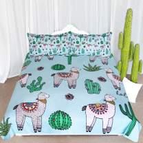ARIGHTEX Alpaca Llama Cactus Pattern Bedding Green Blue Girls Cute Duvet Cover 3 Piece South American Cartoon Animal Bedspreads (Queen)