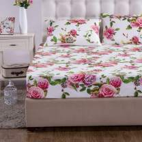 DaDa Bedding Romantic Roses Fitted Sheet - Lovely Spring Pink Floral Colorful - Bright Vibrant w/ Pillow Cases Set - King - 3-Pieces