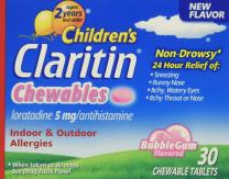 Children's Claritin 24 Hour Non-Drowsy Allergy  Bubblegum Chewable Tablet, 5 mg, 30 Count, Pack of 3
