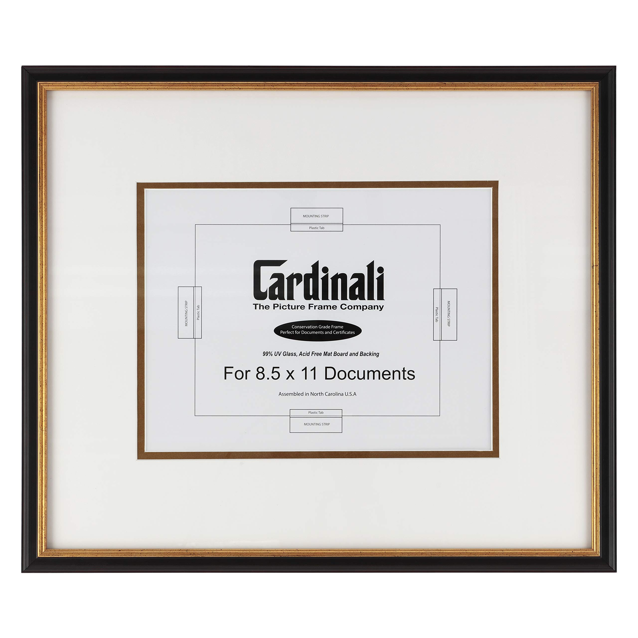 Cardinali Diploma Frame - for Archival University College High School Graduation Diploma, Document & Certificates, Real Wood with Glass & Hanging Hardware - Black & Gold - 8.5 x 11 Inch Opening, Made In USA