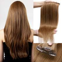 S-noilite 16 18 20 Inches Real Human Hair Extensions Clip in 10pcs 100g 20 Clips Wefted Natural Layered Clipin Hair Full Head Standard Weft Highlights Ombre Hair For Beauty #6 Light Brown