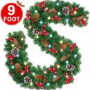 Camlinbo Christmas Garland - [9 Foot by 10 Inch] Battery Operated Lighted Prelit Christmas Garland with 50 Lights/ Snowflake/ Pine Cones/ Red Berries, Xmas Wreath Decoration Indoor Outdoor Home