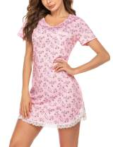 Ekouaer Women's Nightgown Soft Short Sleeve Night Shirt Lace Trim Sexy Print Sleep Dress (S-XXL)
