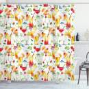 """Ambesonne Tiki Bar Shower Curtain, Exotic Cocktails Pattern Summer Drinks Fresh Juicy Beverages Watercolor Artwork, Cloth Fabric Bathroom Decor Set with Hooks, 84"""" Long Extra, Orange Red"""