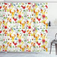 """Ambesonne Tiki Bar Shower Curtain, Exotic Cocktails Pattern Summer Drinks Fresh Juicy Beverages Watercolor Artwork, Cloth Fabric Bathroom Decor Set with Hooks, 75"""" Long, Orange Red"""